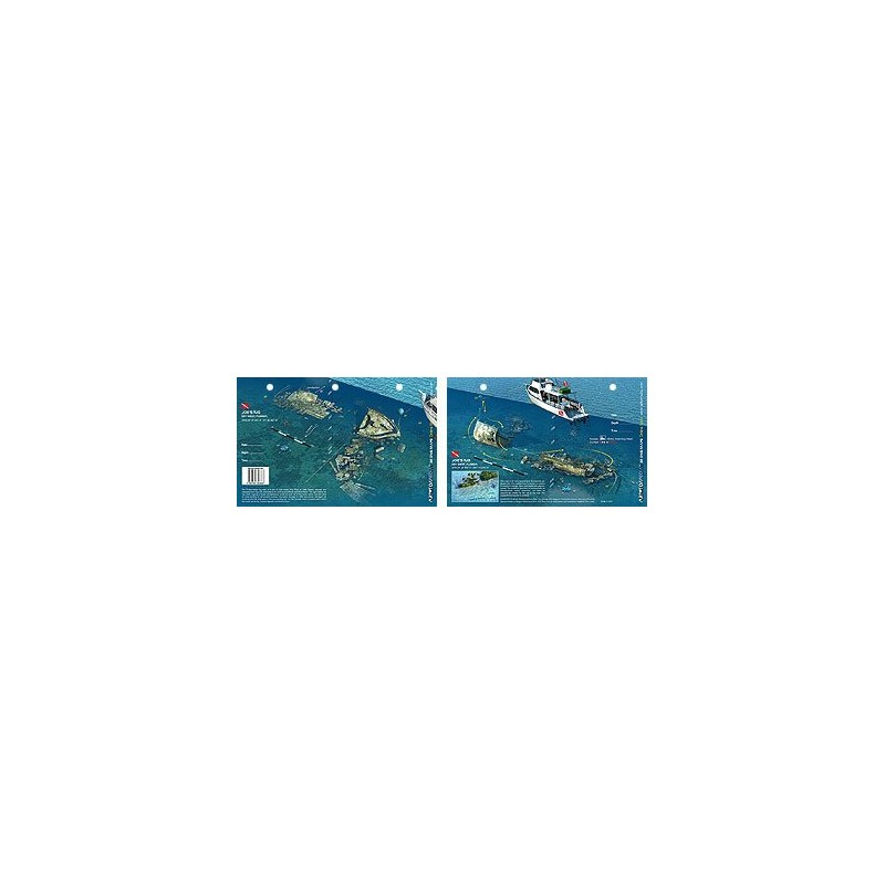 Joe`s Tug in Key West, Florida (8.5 x 5.5 Inches) (21.6 x 15cm) - New Art to Media Underwater Waterproof 3D Dive Site Map