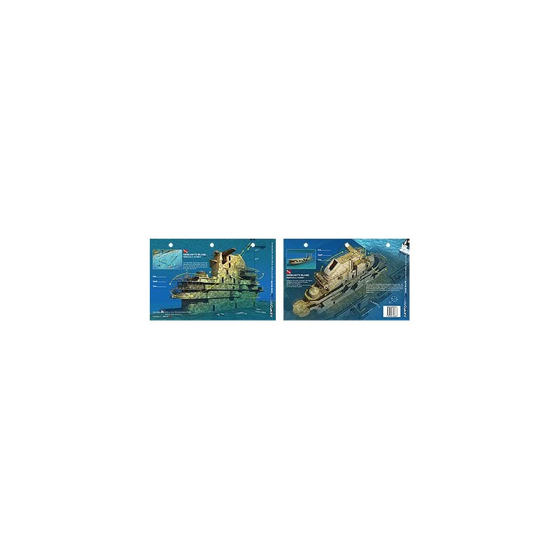 Oriskany`s Island in Pensacola, Florida (8.5 x 5.5 Inches) (21.6 x 15cm) - New Art to Media Underwater Waterproof 3D Dive Site M