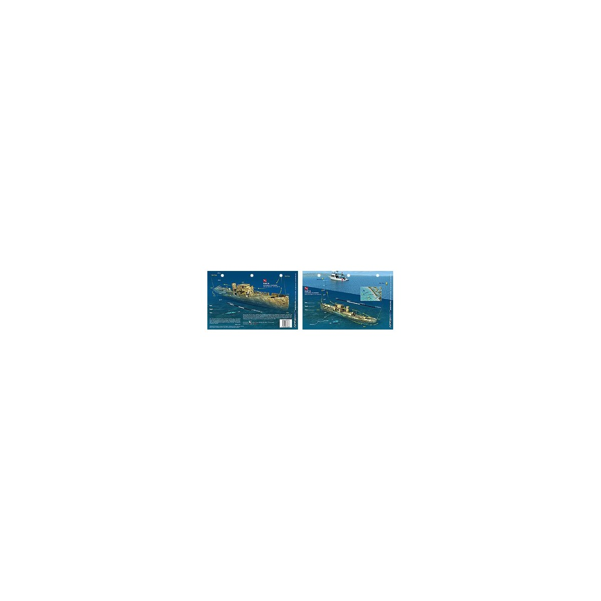 Ruby E in San Diego, California (8.5 x 5.5 Inches) (21.6 x 15cm) - New Art to Media Underwater Waterproof 3D Dive Site Map