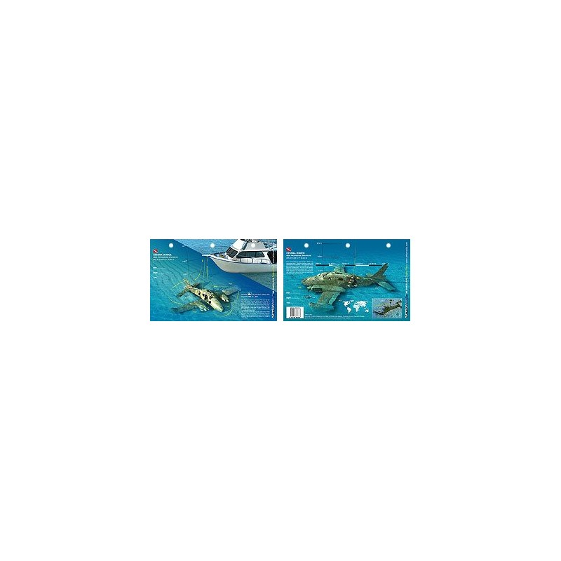 Cessna 310 in the Bahamas (8.5 x 5.5 Inches) (21.6 x 15cm) - New Art to Media Underwater Waterproof 3D Dive Site Map