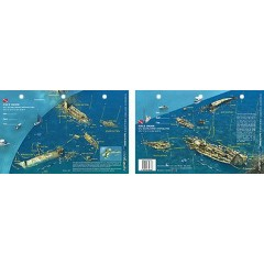 Rhone in British Virgin Islands (8.5 x 5.5 Inches) (21.6 x 15cm) - New Art to Media Underwater Waterproof 3D Dive Site Map