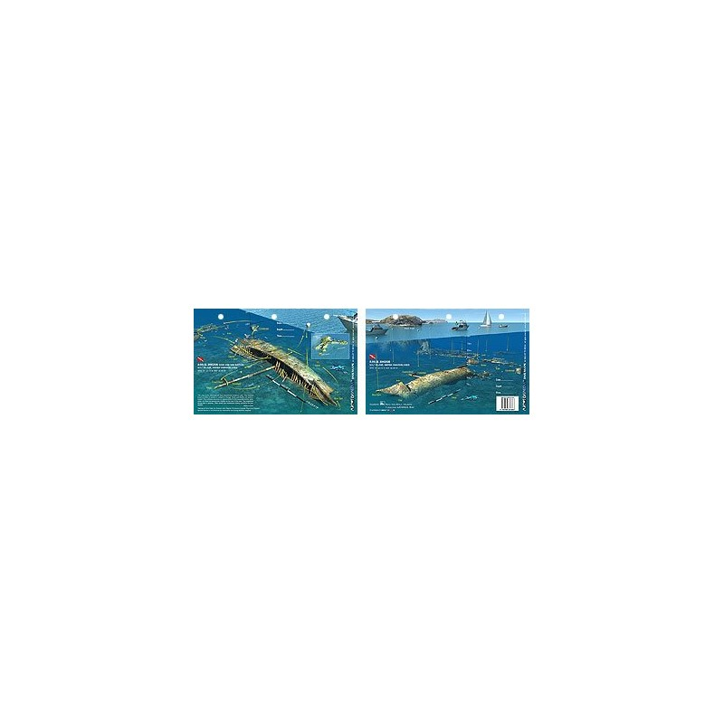 Rhone Bow in British Virgin Islands (8.5 x 5.5 Inches) (21.6 x 15cm) - New Art to Media Underwater Waterproof 3D Dive Site Map