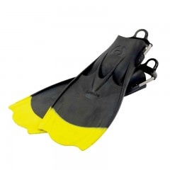 "Hollis F1 ""BAT FIN"" Yellow Tip Vented Blade Open Heel Diving Fin"